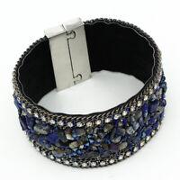Handmade Crystal Natural Stone Wrap Genuine Leather Bangle Wide Cuff Bracelet