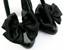Black Shoe Clips For Shoes Satin Bows Pinup Retro Vintage Burlesque Unique