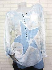 ITALY Batik Feinstrick Shirt Tunika Pulli STERN Blau Mix 40 42 44 (S213)