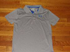 UNDER ARMOUR SHORT SLEEVE GRAY POLO SHIRT BOYS LARGE EXCELLENT CONDITION
