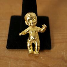 Vintage Style Gold Tiny Mini Baby Brooch Pin Designer Runway Prototype Statement