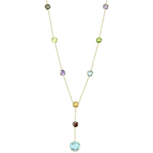 14K Yellow Gold Fancy Cut Gemstones Lariet Necklace 16 Inches