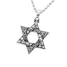 Silver Stainless Steel Jewish Star of David Judaica Charm Pendant Necklace