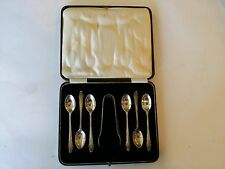 RARE ANTIQUE C.W.F 1908 STERLING SILVER TEA SPOON SET SUGAR CUBE TONGS  ENGLAND