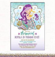Little Mermaid Invitation 1st Birthday Invite Purple Teal Gold Pool Party Beach
