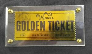 NECA 2005 WILLY WONKA CHOCOLATE FACTORY GOLDEN TICKET REPLICA FREE SHIP!!