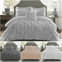 Pintuck Duvet Set 100% Cotton Quilt Cover Top QualitAll UK Sizes Bedding Sets