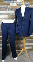 Hardy Amies Blue Mens Suit Size Jacket 38 Chest Trousers W36 L31 Wedding Party