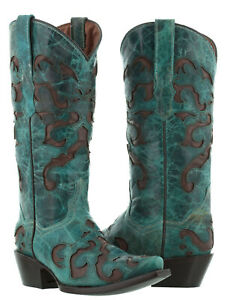Womens Turquoise Overlay Cowgirl Boots Distressed Leather Western Wear Snip Toe