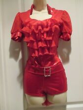 """Dance Costume Kelle Teen """"Cell 100"""" Red Layered One piece Outfit Euc"""