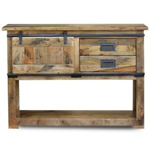 Cromer Slider Mango Wood Industrial Console Hall Table Buffet (MADE TO ORDER)