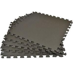 Black Interlocking Mat Yoga Exercise Gym Fitness Gymnastics Soft Foam Floor Mats