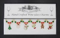 Christmas Gold and Enamel Set of 6 Wine Glass Charms Handmade Just for You