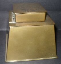 Antique Brass Inkwell Embossed Coat of Arms Art Deco Style