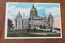 Vintage postcard State Capital Des Moines Iowa IA 1930 Hymans news & book store