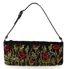 VALENTINO Black, Green & Red Beaded Floral Applique Sequin Evening Bag