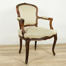 Antica sedia imbottita con braccioli poltrona poltroncina in legno noce francese