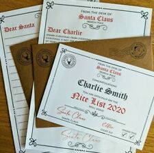 Personalised Santa Claus Father Christmas Letter & Nice List Certificate