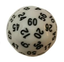 White Color- 60 Sided Polyhedral Dice (D60)- Role Playing Game / Math Play 36mm