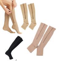 Compression Zip Sox Socks Zipper Leg Support Unisex Open Toe Knee Stockings Hot