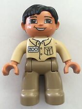 *NEW* Lego DUPLO MALE ZOO WORKER DARK TAN Legs TAN Top BLACK Hair BROWN Eyes
