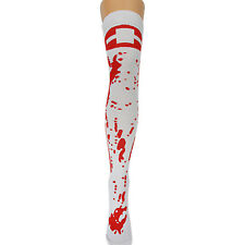 NEW WOMENS OVERKNEE FANCY DRESS HALLOWEEN BLOOD STAINED NURSE SOCKS SIZE PARTY