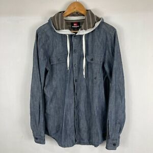 Quiksilver Mens Button Up Shirt Small Hooded Long Sleeve Blue