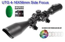 UTG 4-16X56 30mm Scope, Side Focus, 36-color Etched Glass Mil-dot, w/ Rings