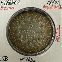 5 FRANCS HERCULE - 1874A - Pièce de monnaie en Argent // TTB