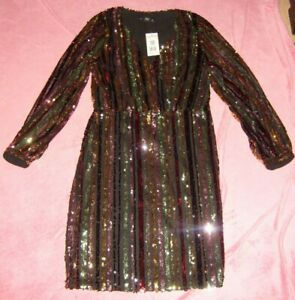 LADIES SIZE 6 MULTI COLOURED SEQUIN PARTY DRESS NEW WITH TAGS F&F
