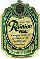 "Rainier Ale Beer Foil On Cardboard Sign Seattle Wa 14"" x 9.5"" Man Cave Vintage"