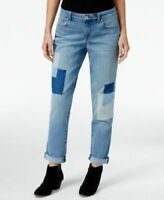 Style & Co Petite Curvy Patchwork Disco Wash Boyfriend Jeans