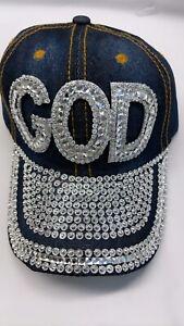 Women Rhinestone Crystal Baseball Caps Bling Studded Denim Hats Adjustable GOD