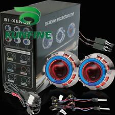 Car Headlight Bi-Xenon HID Projector Lens Kit with Double Angel Eyes and Bulbs