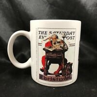 Saturday Evening Post Norman Rockwell Santa at His Desk Coffee Cup