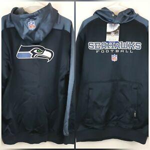 Seattle Seahawks NFL Reebok Pullover Hoodie Sweatshirt  Dark Blue SZ M NWT
