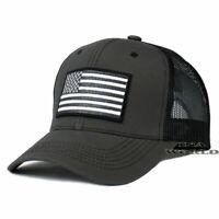USA AMERICAN Flag Hat Cap Tactical Operator Mesh Snapback Baseball Cap- Gray