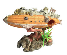 """Aquarium Decoration Submarine & Devil Octopus 8.9"""" Resin Fish Tank Ornament"""