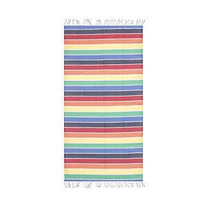 Rainbow Striped Beach Towel, 100% Cotton Soft Turkish Bath Towel by Hencely