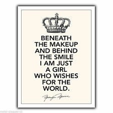 METAL SIGN WALL PLAQUE BENEATH THE MAKEUP Marilyn Monroe Quote print art poster