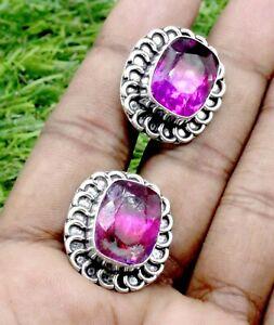 "925 Sterling Silver Tourmaline Gemstone Handmade Jewelry Cufflinks Size-1"""
