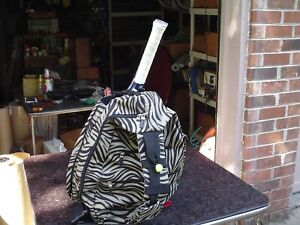 Ladies Zebra Print Vertical Backpack Style Tennis Racquet Bag Lots of Pockets
