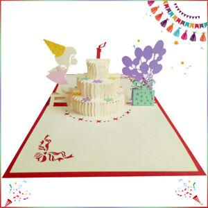 3D Birthday Card Pop Up Beautiful Paper-Cut Friend Daughter Sister Mum Brother