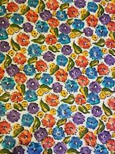 """Multi Colored Floral Fabric Soft cotton OMEGA 80"""" x 62"""" wide Sewing Crafting"""
