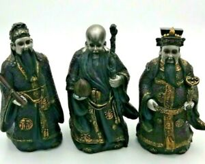 """Collectable 3 X Large Chinese Fu Lu Shou Resin Figures 7"""" High"""