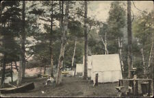 Webster MA Camping Tents at Lake c1920 Hand Colored Postcard