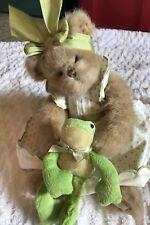 The Bearington Collection Plush Bear Frog Jointed Polka Dot Dress