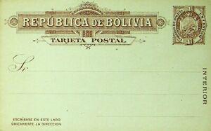 BOLIVIA 1c FINE UNUSED TARJETA POSTAL CARD