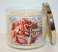 BATH BODY WORKS CANDIED PECANS CANDLE 14.5OZ 3 WICK LARGE SUGAR VANILLA CARAMEL