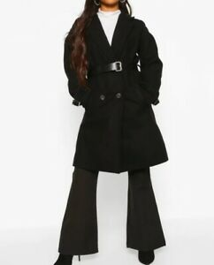 NEW! Petite Belted Wool Look Trench Coat size UK6 EU34